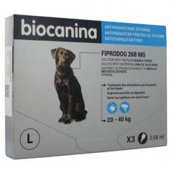 Biocanina Fiprodog 268 mg Solution Spot-On Grands Chiens 3 Pipettes de 2,68 ml